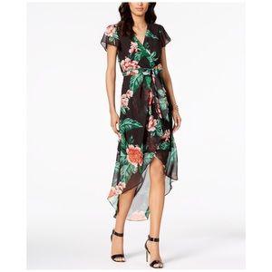 Julia Jordan High Low Floral Wrap Midi Dress